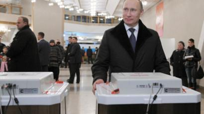 Vladimir Putin takes part in elections of State Duma deputies of sixth convocation. (RIA Novosti/Aleksey Nikolskyi)