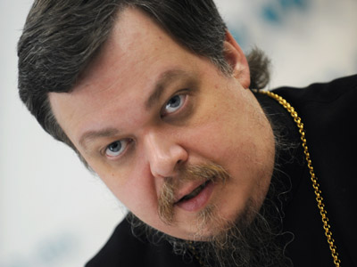 Archpriest Vsevolod Chaplin, head of the Moscow Patriarchate's synodic department on public relations, attending the news conference on the strategy and tasks of the Russian Church in the modern world. (RIA Novosti / Vladimir Vyatkin)