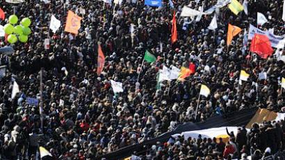 Demonstrators take part in anti-Putin rally in the central Arbat area in Moscow, on March 10, 2012 (AFP Photo / Andrey Smirnov)