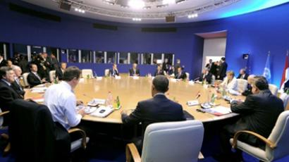 G8 leaders take part in an expanded group G8 Working Session at the International Center of Deauville, at the Hotel Royal Barriere, during the G8 summit in Deauville, northwestern France, on May 27, 2011. (AFP PHOTO / JEWEL SAMAD )