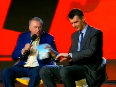 Frame from NTV show featuring Vladimir Zhirinovsky (left) and Mikhail Prokhorov (right), RT image