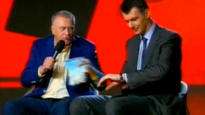 Frame from NTV show featuring Vladimir Zhirinovsky (left) and Mikhail Prokhorov (right), RT image