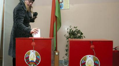 Voters at the election in Belarus. (RIA Novosti/Sergey Samokhin)
