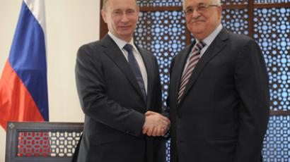 Vladimir Putin (L) and Mahmoud Abbas at a meeting in the residence of the head of the Palestinian National Autonomy, Bethlehem, 26 June 2012(RIA Novosti / Alexsey Druginyn)
