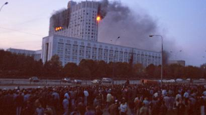 Confrontation between supporters of the first Russian President Boris Yeltsin and the Supreme Council on September 21–October 4, 1993 led to the termination of the council's powers and was accompanied by armed clashes in Moscow. (RIA Novosti / Strelnikov)