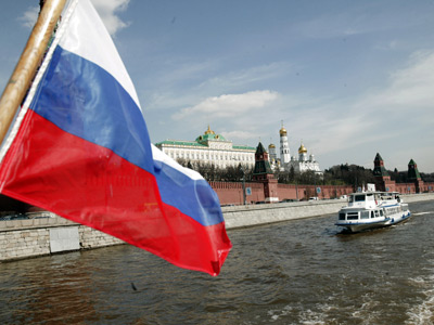 The Russian tricolor shown alonside the Kremlin in Moscow.  (RIA Novosti / Sergey Pyatakov)
