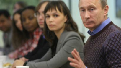 Prime Minister Vladimir Putin talks to students at Cheboksary University