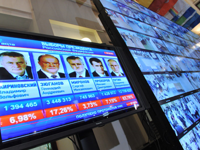 A display showing preliminary results of the Russian presidential election at the Central Election Commission's Election 2012 information center. (RIA Novosti/Ruslan Krivobok)