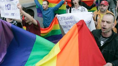 Participant of the unauthorized Slavic Gay Parade.(RIA Novosti / Andrei Aleksandrov)