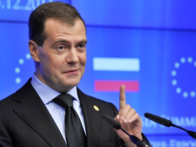 President Dmitry Medvedev gestures as he leaves a press conference on Thursday following a summit with European Union leaders at the EU Headquarters in Brussels (AFP Photo / Georges Gobet)