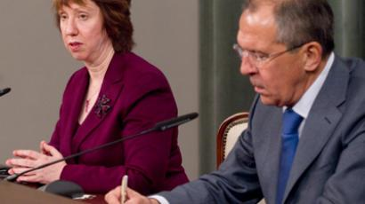 EU Foreign Policy Chief Catherine Ashton (L) and Foreign Minister Sergey Lavrov in Moscow (RIA Novosti / Vitaly Belousov)