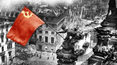 Meliton Kantaria, a Red Army soldier and an ethnic Georgian, raising a Soviet flag over the Reichstag in Berlin. 30.04.1945