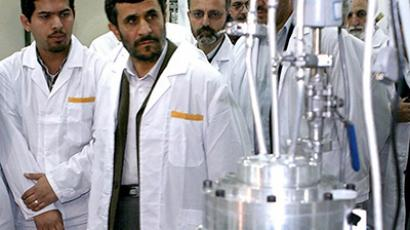 Iranian President Mahmoud Ahmadinejad visits the Natanz nuclear enrichment facility. (Reuters)
