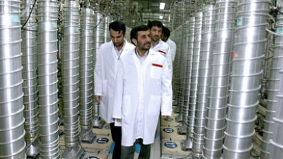 A handout picture released by the official website of Iran's presidency office shows Iranian President Mahmoud Ahmadinejad visits Natanz uranium enrichment facilities some 300 kms, south of the capital Tehran  (AFP Photo)