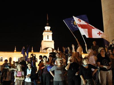 Georgia Dream block supporters are on Freedom Square in Tbilisi.(RIA Novosti / Mikhail Mokrushin)