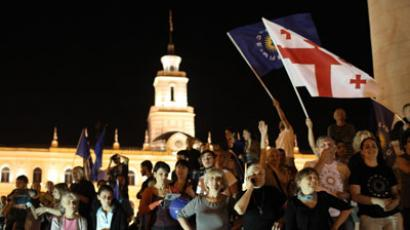 Georgia Dream block supporters are on Freedom Square in Tbilisi.(RIA Novosti / Mikhail Mokrushin)