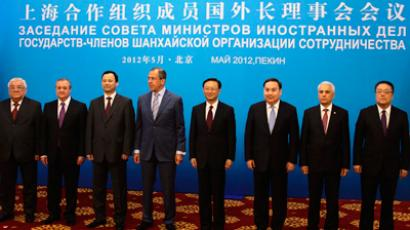 Foreign Ministers of the Shanghai Cooperation Organization member states pose for a group photo before a meeting in Beijing, May 11, 2012 (Reuters / Petar Kujundzic)