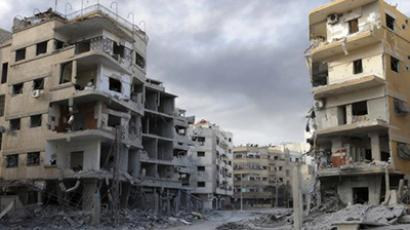A general view shows damaged buildings in suburb of Damascus, January 24, 2013. (Reuters)