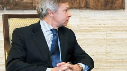 Aleksey Pushkov, the Chairman of the Russian Duma's International Affairs Committee, in Damascus February 20, 2012  (Reuters / Sana / Handout)