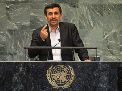 Mahmoud Ahmadinejad, President of the Islamic Republic of Iran, speaks during the 67th session of the United Nations General Assembly September 26, 2012 at UN headquarters in New York. (AFP Photo/Stan Honda)