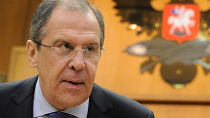 Russian Foreign Minister Sergei Lavrov gives news conference on January 23, 2013. (RIA Novosti / Alexey Philippov)