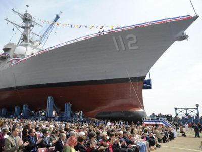 In this image released by the US Navy Visual News Service May 7, 2011 shows guests await the christening ceremony for the Arleigh Burke-class guided-missile destroyer Pre-commissioning Unit (PCU) Michael Murphy (DDG 112)  (AFP Photo / US Navy / Mass Communication Specialist 2nd Class Dominique M. Lasco)