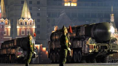 Russian Topol-M intercontinental ballistic missiles parade during a military rehearsal on the Red square in Moscow on May 4, 2010 in preparation for celebrations marking the 65th anniversary of the end of WWII (May 9, 2010).(AFP Photo / Alexander Nemenov)