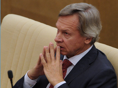 Aleksei Pushkov, chairman, the Duma committee on international affairs, attending the Duma meeting. (RIA Novosti/Vladimir Fedorenko)