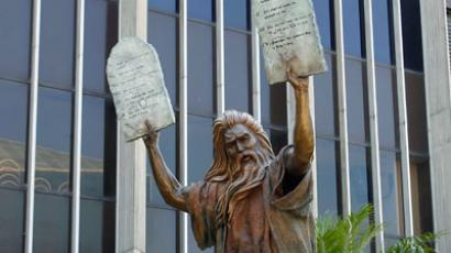 A statue of Moses carrying the tablets.(Reuters / Alex Gallardo)