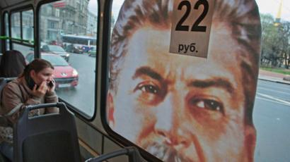 A bus with a portrait of Joseph Stalin on route No. 187 in St. Petersburg. (RIA Novosti / Rostislav Koshelev)