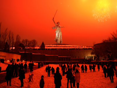 Fireworks exploding over the giant Mother Motherland statue, at the Stalingrad Battle memorial, in Volgograd, Russia  (AFP Photo / Mikhail Mordasov)