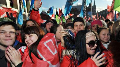 The pro-Kremlin youth movement Nashi rallies at Manezhnaya Square (RIA Novosti / Artyom Zhitnev)