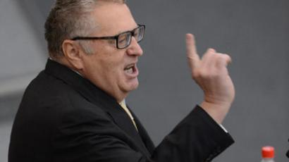 Uproar as LibDem leader Zhirinovsky attacks pregnant reporter