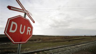 A railroad leading to the last train station Akyaka between Turkey and Armenia (AFP Photo / Mustafa Ozer)