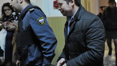 Konstantin Lebedev, Sergei Udaltsov's aide charged with massive riots arrangements, is seen at the Basmanny Courtroom in Moscow (RIA Novosti / Ramil Sitdikov)