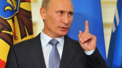 Prime Minister Vladimir Putin makes a point during Council of CIS member states (RIA Novosti/Aleksey Nikolskyi)