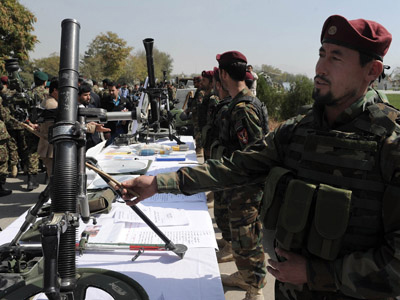 Afghan National Army (ANA) soldiers look at mortars during a weapons exhibition of military equipment donated to the ANA by the United States and other countries at the defence ministry in Kabul (AFP Photo / Shah Marai)