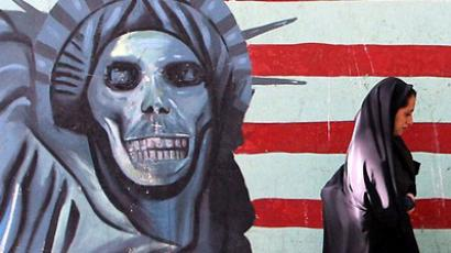Satirical mural of Statue of Liberty on the wall of the former US Embassy in Tehran