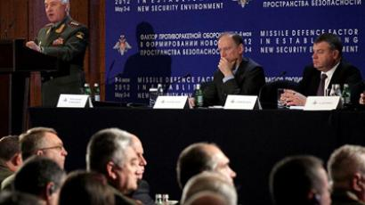 Russian General Chief of Staff Nikolai Makarov addresses the international conference on missile defense in Moscow on Thursday.