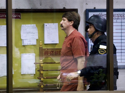 Bangkok: Alleged Russian arms dealer Viktor Bout arrives at a Criminal Court in Bangkok on October 5, 2010. (AFP Photo / Nicolas Asfouri)