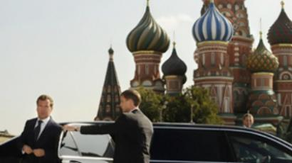 Dmitry Medvedev on Red Square in Moscow (AFP Photo / Pool / Natalia Kolesnikova)