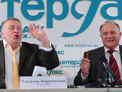 Vladimir Zhirinovsky (L) and Gennady Zyuganov (RIA Novosti / Aleksey Philippov)