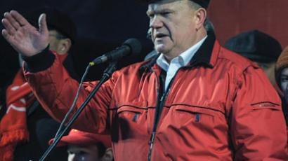 Leader of the Communist Party of the the Russian Federation Gennady Zyuganov speaks at a rally in honor of the 95 anniversary of the Great October Socialist Revolution.(RIA Novosti / Vladimir Astapkovich)