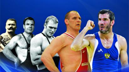Great Rusisan wrestlers: from Ivan Poddubny (L) to Aleksandr Karelin and Buvaisar Saitiev (Image from http://www.fila-wrestling.com/)