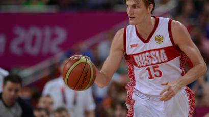 Russia's Andrei Kirilenko in the men's basketball quarterfinal match against Lithuania at the London 2012 Olympic Games (RIA Novosti / Alexey Filippov)