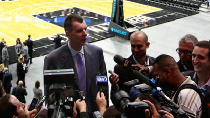 Mikhail Prokhorov speaks with reporters after the ribbon cutting ceremony for the Barclays Center in the Brooklyn borough of New York September 21, 2012 (Reuters / Brendan McDermid)