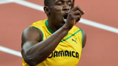 Jamaica's Usain Bolt celebrates after winning the men's 100m final at the athletics event during the London 2012 Olympic Games on August 5, 2012 in London (AFP Photo / Gabriel Bouys)
