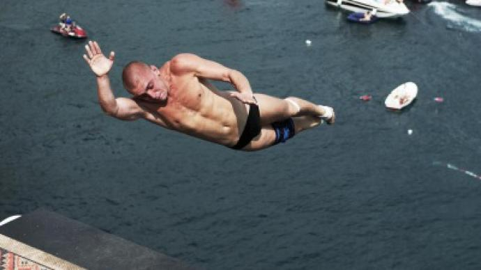 Russian sets highest ever total for cliff diving rt sport - Highest cliff dive ever ...