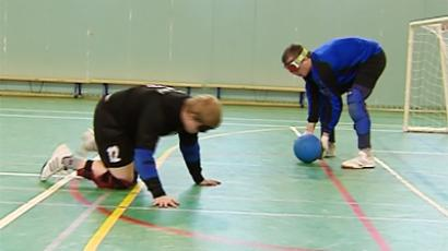 Blind footballers playing Goalball