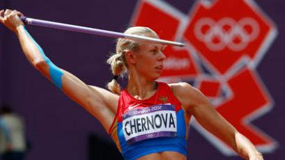 Tatyana Chernova competes during the women's heptathlon javelin throw Group B event during the London 2012 Olympic Games at the Olympic Stadium.(REUTERS / Kai Pfaffenbach)